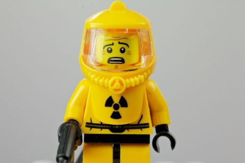 legoman in a hazmat suit