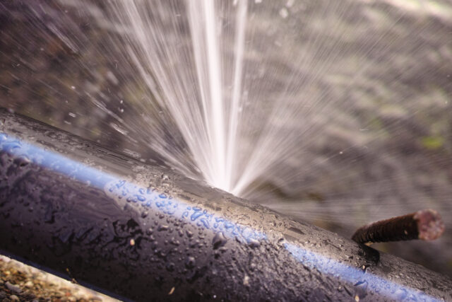 water wastage from broken pipe